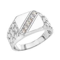 White Gold Cubic Zirconia Signet Men's Nugget Ring Silver Jewellery Online, Ancient Jewelry, White Gold Rings, White Gold Diamonds, Vintage Jewelry, Custom Jewelry, Jewelry Stores, Sterling Silver Jewelry, Customer Service