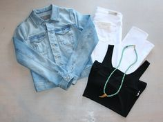 Monday Errands around Town  Black Fitted Tank Top  by TART $33 Blue Jean Jacket  by AG $215 White Cigarette Leg Jeans by AG $178  Turquoise Beaded Necklace w/ Horn  by iSobel $114