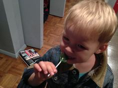 Eric's first lollipop, contributed by the manager of Rainbow store