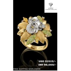 #jaipuratozdiamonds Awesome Handmade Designer Real Diamond Ring made up in 18 K Gold. The Diamond Weight is 0.60 ct. The Diamond Color is G Color, Vs Clarity.The Emerald weight is 1 carat. We are the manufacturers of high quality diamond jewelry. We sell best quality Diamond Jewelry at the best price.