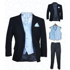 SIRRI Boys' Suits, Girls' Dresses | Boys New 5 Pc Black & Blue Wedding Cravat Suit