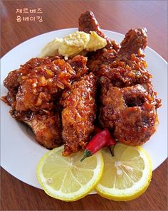 Spicy Korean Fried Chicken Oh my god yaaaassssss Spicy Korean Chicken, Spicy Fried Chicken, Fried Chicken Recipes, Korean Dishes, Korean Food, Korean Grill, Kimchi, Asian Recipes, The Best