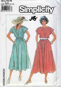 Simplicity 8064 1980s Misses Pullover Sun Dress Pattern by mbchills,womens vintage sewing pattern