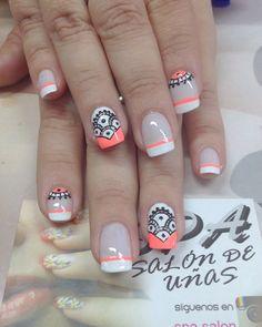 trendy summer & fall nail colors and designs to wear this season - page 30 31 Crazy Nails, Love Nails, How To Do Nails, French Nails, Mandala Nails, Gel Nagel Design, Tribal Nails, Pretty Nail Art, Nail Decorations