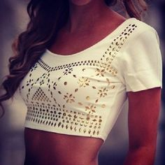 White cropped top with embellished gold studs jewels.
