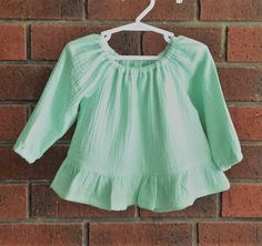 300b731fafd Baby girl top    mint cotton double gauze fabric    long or short sleeves