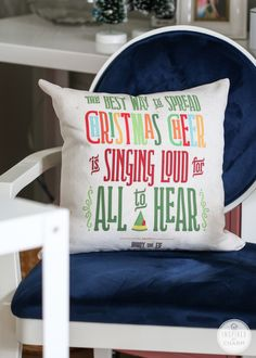 """The Best Way to Spread Christmas Cheer is Singing Loud for All to Hear"" Throw Pillow Flocked Christmas Trees, Little Christmas, All Things Christmas, Christmas Holidays, Christmas Crafts, Christmas Decorations, Xmas, Holiday Decorating, Decorating Ideas"