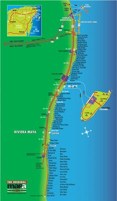 Map of the main hotels along the Riviera Maya including the Grand Palladium