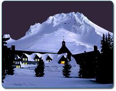 Timberline Lodge, Mt. Hood, Oregon. We went Night Skiing here; the silent shuushing of our skis under the stars was sublime.