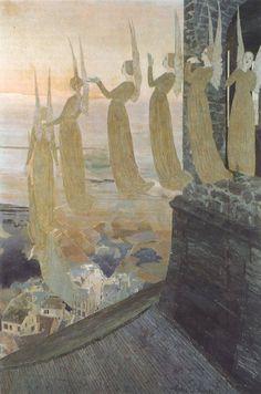 Les Cloches du Soir by Carlos Schwabe. Carlos Schwabe (1866 – 1926) was a German Symbolist painter and printmaker.