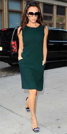 Victoria Beckham stepped out in N.Y.C. wearing a Goat sheath and bowed Miu Miu heels.