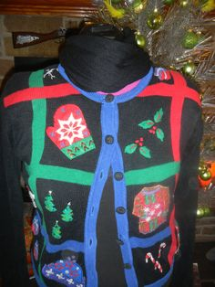 Block ugly tacky vintage christmas sweater ugly sweater party size medium