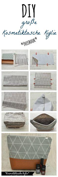 Kostenlose Nähanleitung für die große Kosmetiktasche Kylie mit Innentasche (Diy Bag)
