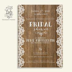bridal shower Invitation rustic invitation   by FreshmintPaperie, $18.50
