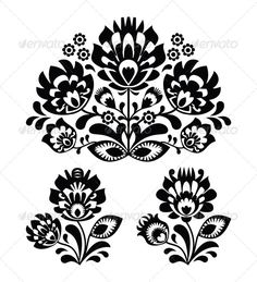 Folk Embroidery with Flowers - Traditional Polish  - Flourishes / Swirls Decorative