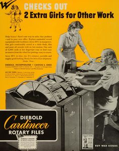 1943 Ad Diebold Cardineer Rotary Files Office Equipment Business Filing WWII FZ5 - Period Paper