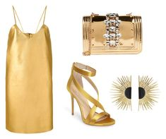 A fashion look from January 2018 featuring v neck dress, ankle strap shoes and cross-body handbag. Browse and shop related looks. Vince Camuto, Shoe Bag, Polyvore, Gold, Stuff To Buy, Accessories, Shopping, Shoes, Design