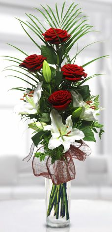 red roses with lilies and greenery Valentine Flower Arrangements, Church Flower Arrangements, Valentines Flowers, Church Flowers, Beautiful Flower Arrangements, Silk Flower Arrangements, Funeral Flowers, Flower Centerpieces, Flower Vases