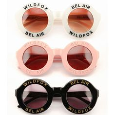Wild Fox Bel Air Sunglasses If anyone knows anyone selling these sunglasses no matter what color send me their link ASAP! Please :) :) :) Wildfox Accessories Sunglasses Ray Ban Sunglasses Outlet, Ray Ban Outlet, Sunglasses Online, Oakley Sunglasses, Cat Eye Sunglasses, Round Sunglasses, Sunglasses Women, Sunglasses Accessories, Discount Sunglasses