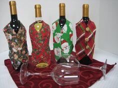 Wine Bottle Vest, Bar Accesories, Wine gift, Hostess Gift, Holiday decor, Holiday Entertaining, Christmas Decor, Christmas Entertaining, Bar by FootlessDesigns on Etsy