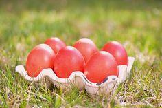 Κόκκινα αυγά Τα αυγά της Αναστάσεως Κόκκινα αυγά: Διαδικασία βαφής Υλικά 30 αυγά 1 κόκκινη βαφή για κρύο νερό 1/2 κουταλάκι του γλυκού αλάτι 1/2 ποτηράκι του κρασιού ξύδι βαμβάκι ελαιόλαδο για το γ…