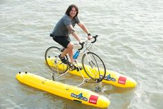 Judah Schiller from the San Francisco Bay Area is a water-biking evangelist. Barca News, Party Raft, Pedal Boat, Recumbent Bicycle, Diy Boat, Cargo Bike, Water Toys, Dinghy, Bike Style