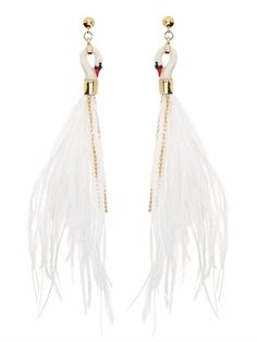NACH - WHITE SWAN EARRINGS - LUISAVIAROMA - LUXURY SHOPPING WORLDWIDE SHIPPING - FLORENCE