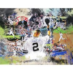 Derek Jeter Signed Greatest Moments Painted Graphic Collage 30x38 Canvas Color