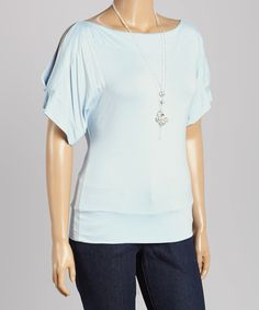 Love this Sky Blue Cutout Top & Necklace - Plus by Libian on #zulily! #zulilyfinds