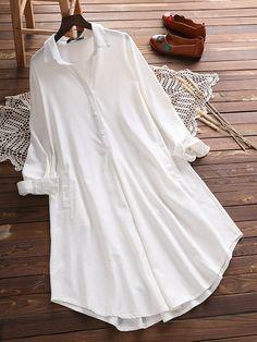 Vintage Lapel Pocket Shirt Dress For Women Plus Size Vintage Dresses, Plus Size Maxi Dresses, Loose Dresses, Summer Dresses, Vestidos Vintage, Blouse En Coton, Mexican Blouse, Camisa Formal, Cotton Blouses