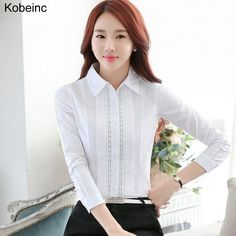 Kobeinc New Long Sleeve Female Blouse Summer Solid Blusas Mujer Korean Style Hollow Out Office Shirts with Lace Plus Size S-XXL  #Affiliate