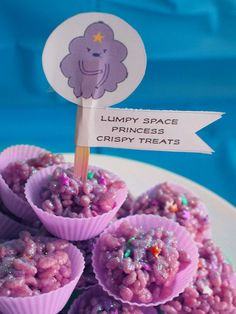 Our son's Adventure Time party! Lumpy Space Princess rice krispie treats #LSP #AdventureTime
