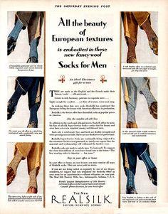 1928 sock ad. 1920s men's fashion.