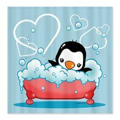 Penguin Shower Curtains | ... 1St Birthday Bathroom Accessories U0026 Décor U003e Penguin  Shower