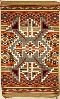 Pay attention Urban Outfitters - this is what a real 'Navajo pattern' looks like : Wide Ruins Rug by Cindy Roan (Navajo) Native American Rugs, Native American Patterns, Native American Design, Native Design, American Indian Art, Native American Indians, Navajo Weaving, Navajo Rugs, Hand Weaving