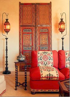 From Cote de Texas Moroccan doors Syrian lanterns - love the Moroccan style Moroccan Decor Living Room, Moroccan Interiors, Living Room Decor, Moroccan Bedroom, Red Interiors, Moroccan Design, Moroccan Style, Indian Style, Bohemian Interior