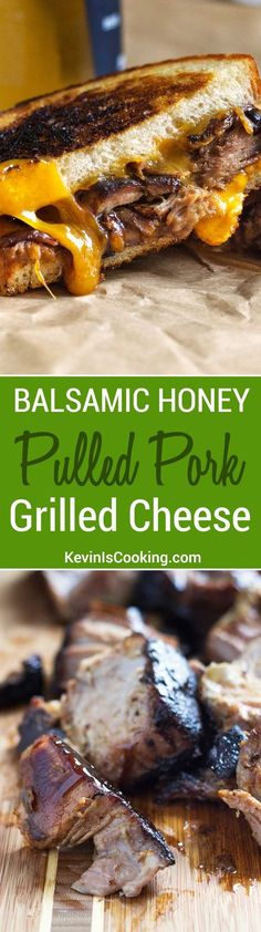 Balsamic Honey Pulled Pork Grilled Cheese Sandwiches A huge favorite with friends and family, plus it's so easy. One recipe I go to time and again to stuff grilled cheese sandwiches! Ultimate Grilled Cheese, Grilled Cheese Recipes, Pork Recipes, Cooking Recipes, Grilled Cheeses, Diet Recipes, Cooking Bacon, Cooking Gadgets, Snacks Recipes