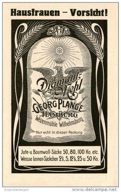 Original-Werbung/Inserat/ Anzeige 1910 : DIAMANT-MEHL / GEORG PLANGE HAMBURG / WEIZENMÜHLE WILHELMSBURG  ca. 90 x 160 mm