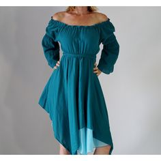 Gypsy Dress Long Sleeve Teal Blue Lightweight Renaissance Costume... ($55) ❤ liked on Polyvore featuring costumes, dresses, grey, women's clothing, renaissance gypsy costume, womens halloween costumes, pirate wench costume, pirate halloween costumes and womens costumes