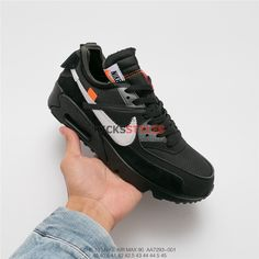 newest collection 69a58 3c0f7 Off-White x Nike Air Max 90 Black shoes AA7293-001 Nike Air Max