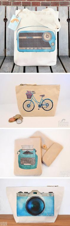 Bicycle pouches, radio totes, typewriter tablet sleeves — #Etsy seller Ceridwen Hazelchild's hand-drawn illustrations of analog motifs give her cotton canvas accessories a particularly timeless appeal.