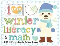I Love Winter Literacy and Math by First Grade Schoolhouse. FIRST GRADE. $Winter themed literacy and math activities and centers. Includes graphics by Fancy Dog Studio. http://fancydogstudio.com