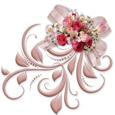 Pink Bow with Roses PNG Decorative Element Parchment Craft, Flower Spray, Borders And Frames, Album Design, Flower Images, Flowers Pics, Flower Frame, Vintage Images, Clipart