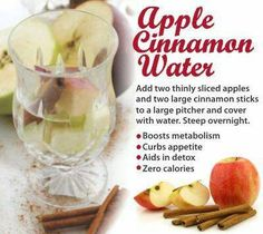 Apple Cinnamon Water-Aids in Detox, Curbs Appetite, Boost Metabolism & Zero Calories! Healthy Detox, Healthy Drinks, Healthy Snacks, Healthy Recipes, Detox Drinks, Healthy Eating, Diet Detox, Clean Eating, Healthy Water