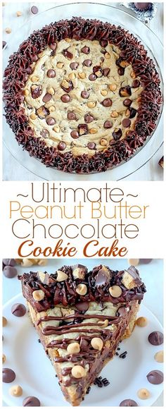 Ultimate Peanut Butter Chocolate Chip Cookie Cake - this giant cookie is so easy to make and tastes INCREDIBLE!