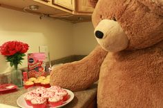 Big Hunka Love Bear with yummy frosted cupcakes for Valentine's Day!