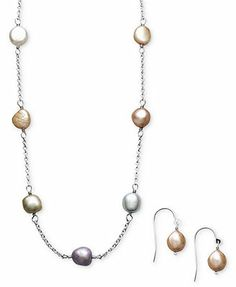 Fresh by Honora Pearl Necklace and Earring Set, Sterling Silver Multicolor Cultured Freshwater Pearl (7mm)