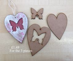 Mdf 3mm heart with butterfly cut out great to paint or stamp on