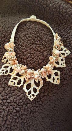 A Tahitian-style necklace I made during Te Mana Ora costume workshop I taught at.  Seashells California Hula Center hulamelani.etsy.com Ori Tahiti
