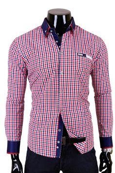 SEDNA 59 kostkovaná červenotmavomodrá | Košile Slim Fit Elegantní košile | Košile pánské a kravaty - Internetový obchod.
